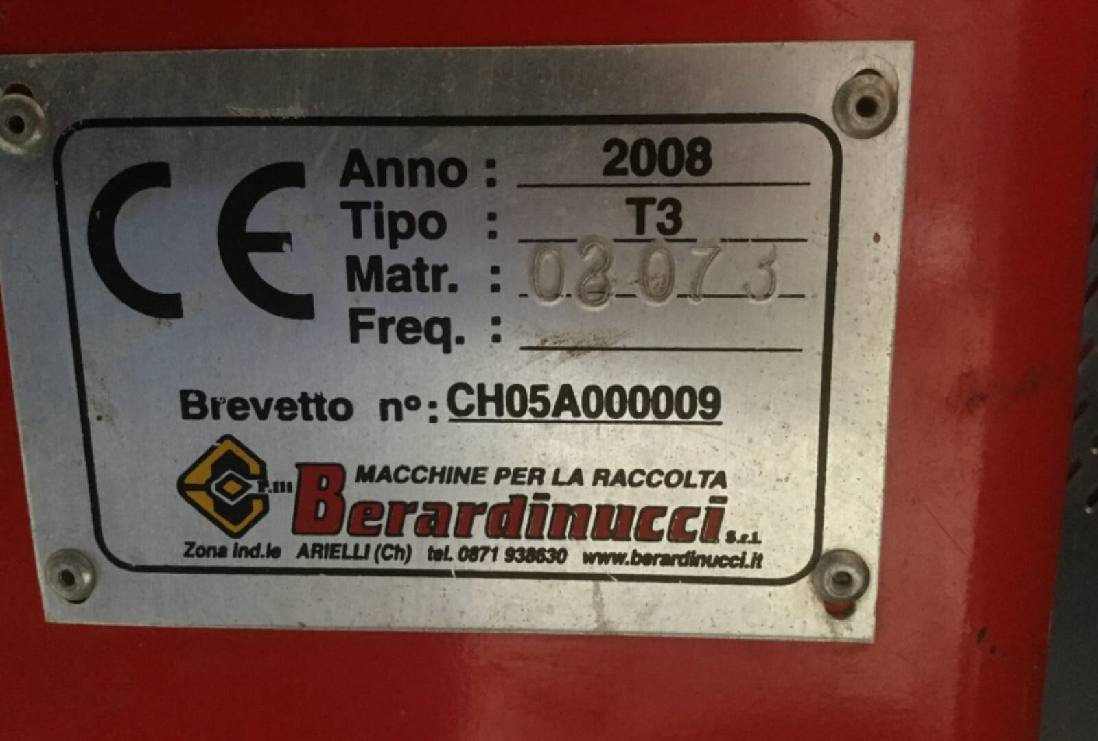 Targhetta Scuotitore usato Berardinucci Tornado T3
